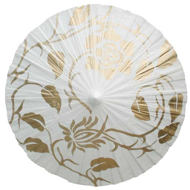 70cm white with gold leaf- waxed cotton