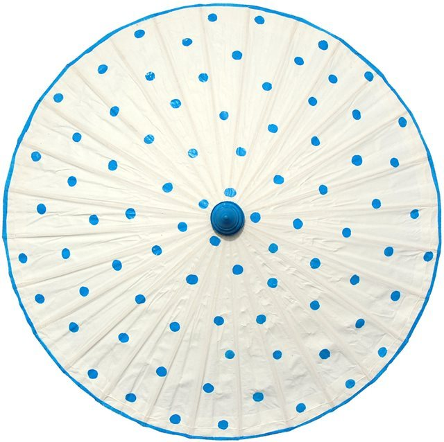 82cm white - sky blue spots - waxed cotton
