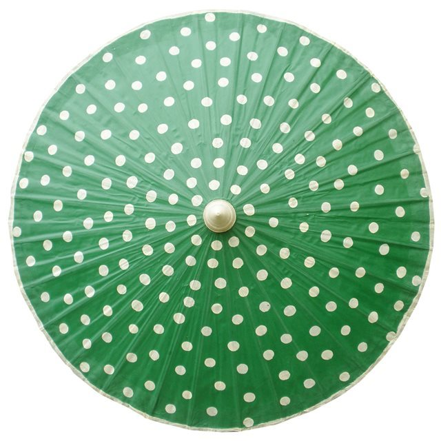 82cm green - cream spots - waxed cotton