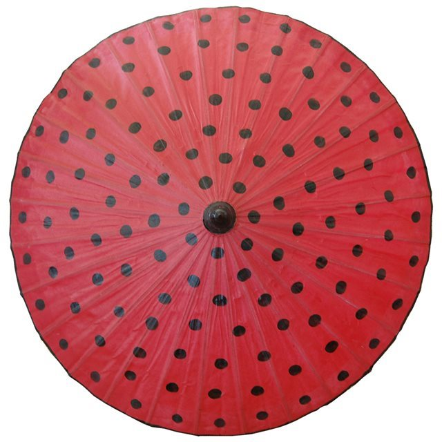 82cm red - black spots - waxed cotton