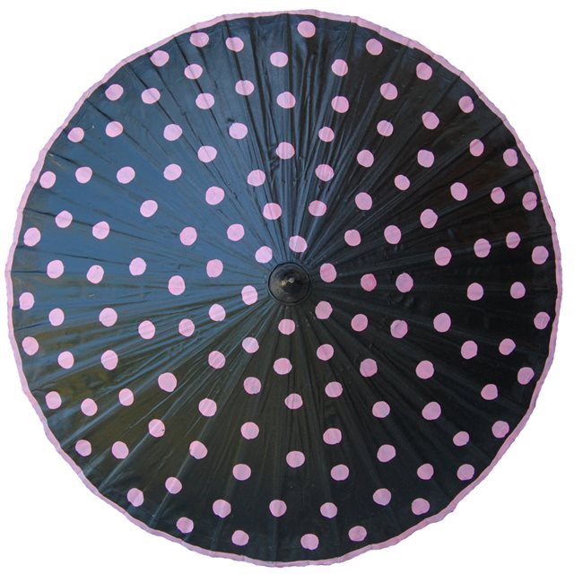 82cm black - pink spots - waxed cotton