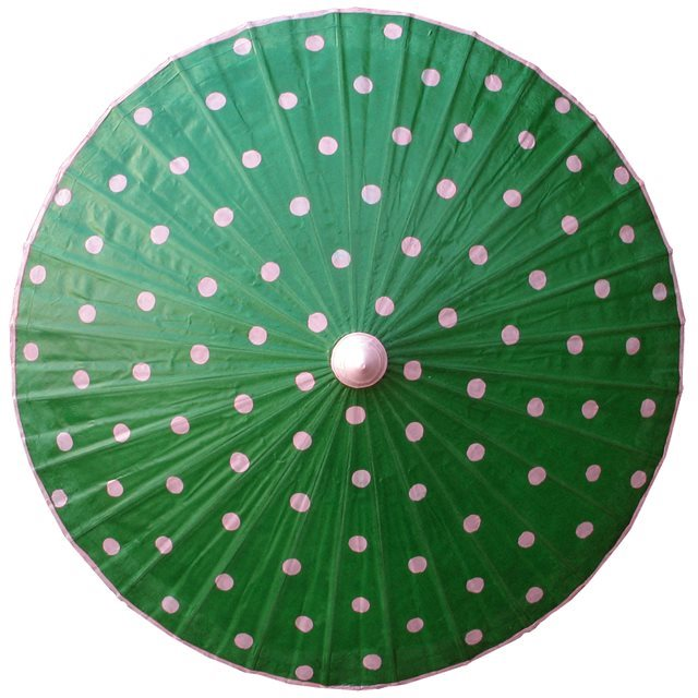82cm Green with Pink Spots- waxed cotton