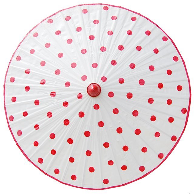 82cm white - red spots - waxed cotton